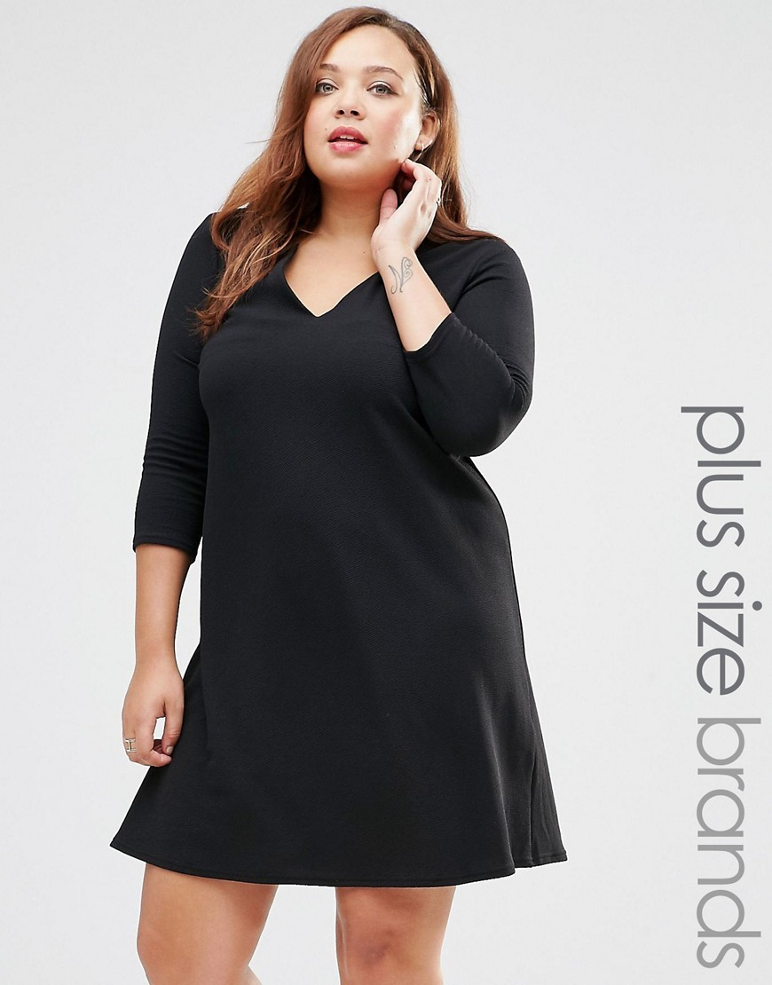 Plus Swing Dress Black - style: smock; length: mid thigh; neckline: low v-neck; fit: loose; pattern: plain; predominant colour: black; occasions: evening; fibres: polyester/polyamide - stretch; sleeve length: 3/4 length; sleeve style: standard; pattern type: fabric; texture group: jersey - stretchy/drapey; season: s/s 2016; wardrobe: event