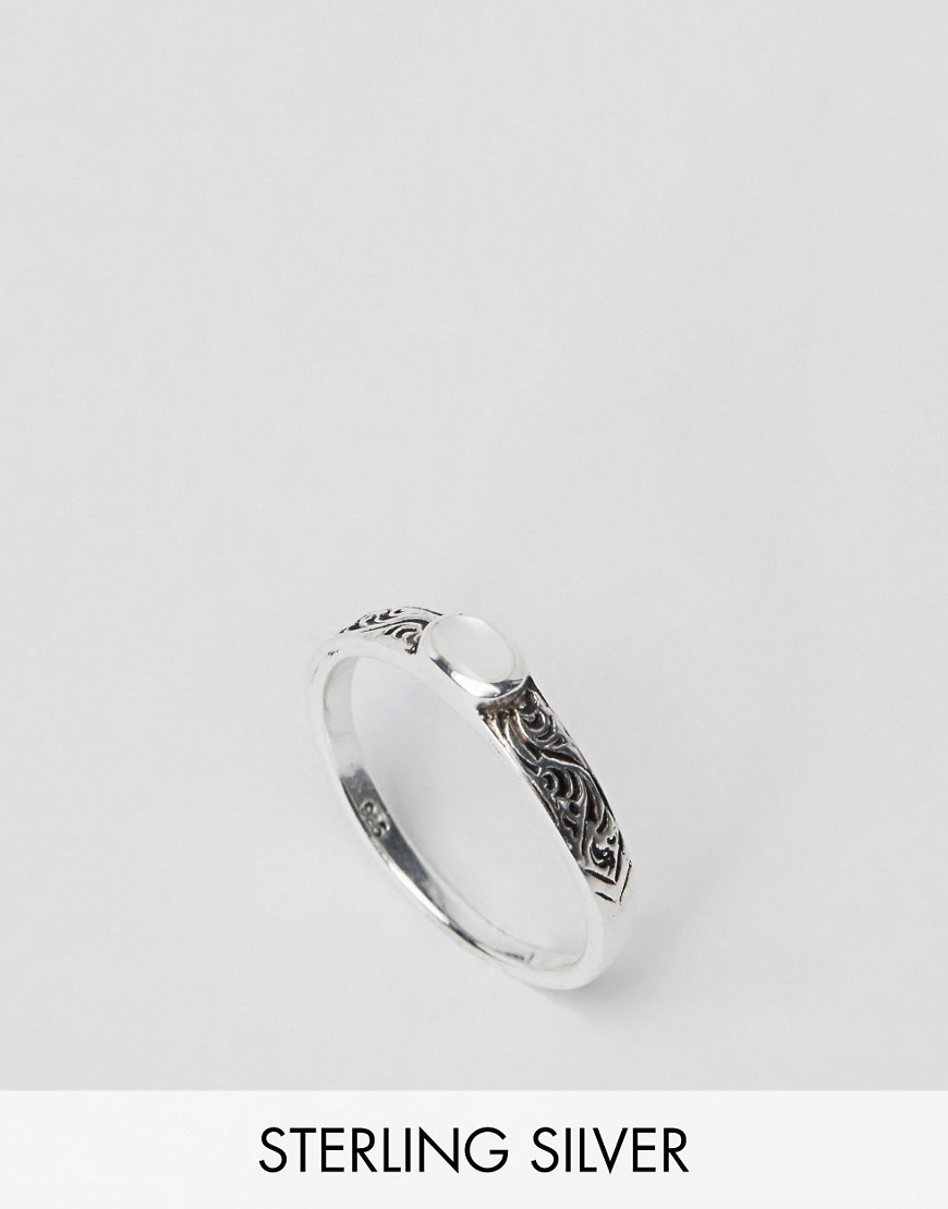 Sterling Silver Etched Stone Ring Silver - predominant colour: stone; occasions: casual, work, creative work; style: band; size: standard; material: chain/metal; finish: plain; season: s/s 2016