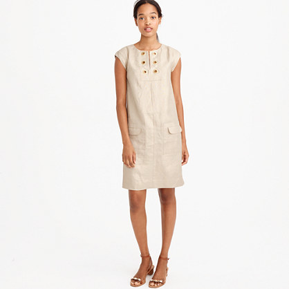 Petite Metallic Linen Shift Dress With Grommets - style: shift; pattern: plain; sleeve style: sleeveless; predominant colour: blush; occasions: casual, creative work; length: just above the knee; fit: soft a-line; fibres: linen - 100%; neckline: crew; sleeve length: sleeveless; texture group: linen; pattern type: fabric; season: s/s 2016; wardrobe: basic