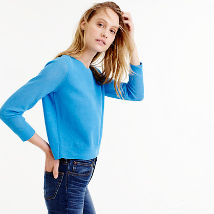 Collection Popover Sweater In Gauzy Cotton - neckline: round neck; pattern: plain; length: cropped; style: standard; predominant colour: diva blue; occasions: casual, creative work; fibres: cotton - 100%; fit: slim fit; sleeve length: 3/4 length; sleeve style: standard; texture group: knits/crochet; pattern type: knitted - fine stitch; season: s/s 2016; wardrobe: highlight
