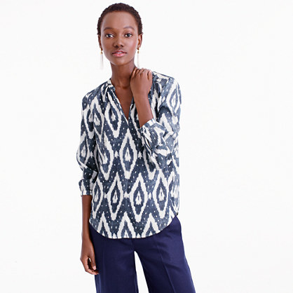 Collection Long Sleeve V Neck Top In Ikat - neckline: v-neck; style: t-shirt; secondary colour: white; predominant colour: black; occasions: casual, creative work; length: standard; fit: straight cut; sleeve length: 3/4 length; sleeve style: standard; pattern type: fabric; pattern: patterned/print; texture group: jersey - stretchy/drapey; fibres: silk - stretch; pattern size: big & busy (top); season: s/s 2016; wardrobe: highlight