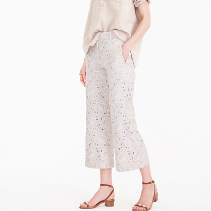 Collection Gazebo Pant In Austrian Lace - waist: mid/regular rise; predominant colour: ivory/cream; occasions: casual; length: calf length; fibres: cotton - 100%; texture group: lace; fit: straight leg; pattern type: fabric; pattern: patterned/print; style: standard; pattern size: light/subtle (bottom); season: s/s 2016; wardrobe: highlight