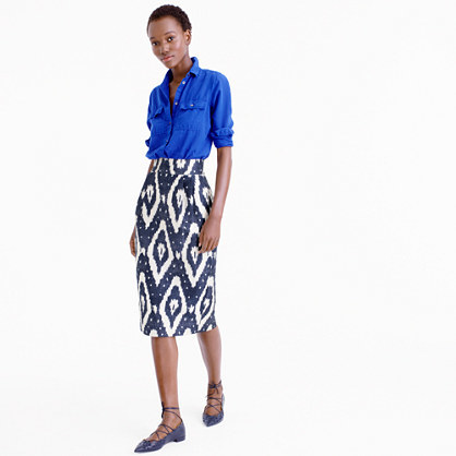 Collection Midi Skirt In Ikat - length: below the knee; style: pencil; fit: tailored/fitted; waist: high rise; secondary colour: white; predominant colour: navy; fibres: cotton - mix; occasions: holiday, creative work; pattern type: fabric; pattern: patterned/print; texture group: other - light to midweight; pattern size: big & busy (bottom); multicoloured: multicoloured; season: s/s 2016