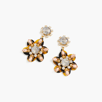 Petal Burst Earrings - secondary colour: silver; predominant colour: gold; occasions: evening, occasion; style: drop; length: mid; size: large/oversized; material: chain/metal; fastening: pierced; finish: metallic; embellishment: jewels/stone; season: s/s 2016; wardrobe: event