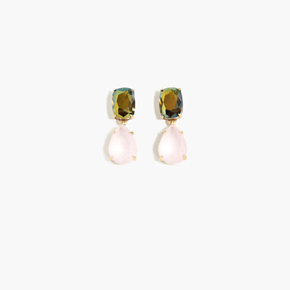 Crystal Drop Earrings - predominant colour: gold; occasions: evening, occasion; style: drop; length: mid; size: large/oversized; material: chain/metal; fastening: pierced; finish: plain; embellishment: jewels/stone; multicoloured: multicoloured; season: s/s 2016; wardrobe: event