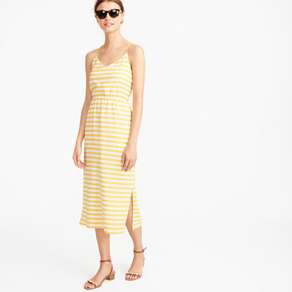 Carrie Dress In Stripe - style: shift; length: below the knee; neckline: low v-neck; sleeve style: spaghetti straps; pattern: horizontal stripes; waist detail: elasticated waist; secondary colour: ivory/cream; predominant colour: primrose yellow; occasions: casual; fit: body skimming; sleeve length: sleeveless; pattern type: fabric; pattern size: standard; texture group: jersey - stretchy/drapey; fibres: silk - stretch; season: s/s 2016; wardrobe: highlight