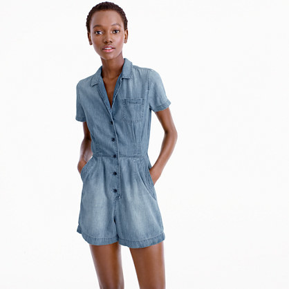 Chambray Romper - neckline: shirt collar/peter pan/zip with opening; pattern: plain; length: short shorts; predominant colour: pale blue; occasions: casual; fit: body skimming; fibres: cotton - mix; sleeve length: short sleeve; sleeve style: standard; texture group: denim; style: playsuit; pattern type: fabric; season: s/s 2016; wardrobe: highlight