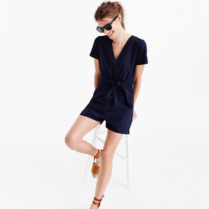 Petite Tie Waist Romper - neckline: v-neck; pattern: plain; length: short shorts; predominant colour: navy; occasions: casual; fit: body skimming; fibres: cotton - 100%; sleeve length: short sleeve; sleeve style: standard; style: playsuit; pattern type: fabric; texture group: jersey - stretchy/drapey; season: s/s 2016