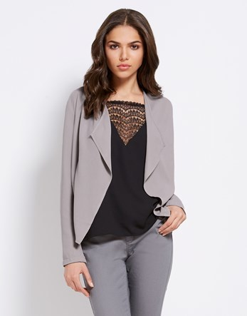 Waterfall Front Blazer - pattern: plain; length: standard; collar: shawl/waterfall; fit: loose; style: single breasted; predominant colour: mid grey; occasions: casual, work, creative work; fibres: polyester/polyamide - 100%; sleeve length: long sleeve; sleeve style: standard; collar break: low/open; pattern type: fabric; texture group: woven light midweight; season: s/s 2016; wardrobe: basic