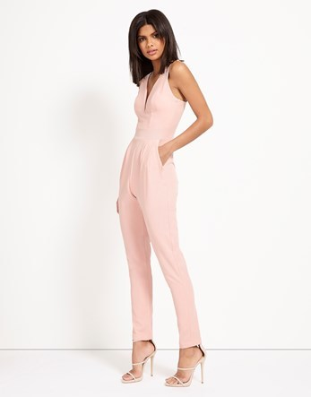 Plunge V Neck Jumpsuit - length: standard; neckline: v-neck; pattern: plain; sleeve style: sleeveless; predominant colour: blush; occasions: evening; fit: body skimming; fibres: cotton - 100%; sleeve length: sleeveless; texture group: cotton feel fabrics; style: jumpsuit; pattern type: fabric; season: s/s 2016; wardrobe: event