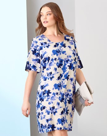 Floral Print Dress - style: shift; neckline: round neck; predominant colour: ivory/cream; secondary colour: royal blue; length: just above the knee; fit: body skimming; fibres: polyester/polyamide - 100%; occasions: occasion; sleeve length: short sleeve; sleeve style: standard; pattern type: fabric; pattern size: standard; pattern: florals; texture group: other - light to midweight; season: s/s 2016; wardrobe: event