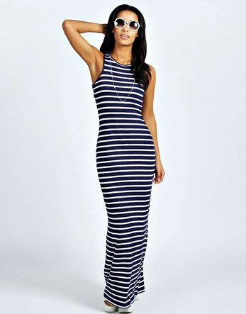 Striped Cut Away Maxi Dress - fit: tight; pattern: horizontal stripes; sleeve style: sleeveless; style: maxi dress; predominant colour: navy; secondary colour: light grey; occasions: casual, holiday; length: floor length; fibres: polyester/polyamide - stretch; neckline: crew; sleeve length: sleeveless; texture group: jersey - clingy; pattern type: fabric; multicoloured: multicoloured; season: s/s 2016; wardrobe: basic