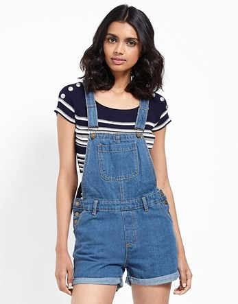 Denim Dungaree Shorts - fit: fitted at waist; pattern: plain; sleeve style: sleeveless; length: short shorts; predominant colour: denim; occasions: casual, holiday; fibres: cotton - 100%; sleeve length: sleeveless; texture group: denim; style: dungarees; neckline: medium square neck; pattern type: fabric; season: s/s 2016