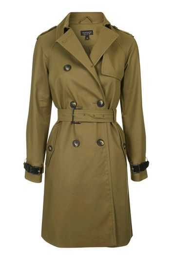 Military Trench Coat - pattern: plain; sleeve style: sleeveless; style: double breasted; collar: standard lapel/rever collar; length: calf length; predominant colour: khaki; occasions: work; fit: tailored/fitted; fibres: polyester/polyamide - mix; waist detail: belted waist/tie at waist/drawstring; sleeve length: sleeveless; collar break: medium; pattern type: fabric; texture group: woven light midweight; season: s/s 2016