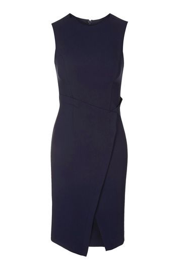 Structured Wrap Dress - style: shift; fit: tailored/fitted; pattern: plain; sleeve style: sleeveless; predominant colour: navy; occasions: casual, evening, creative work; length: on the knee; fibres: polyester/polyamide - stretch; neckline: crew; sleeve length: sleeveless; pattern type: fabric; texture group: jersey - stretchy/drapey; trends: chic girl, pretty girl, tomboy girl; season: s/s 2016; wardrobe: basic