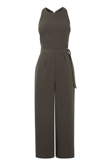 O Ring Belted Jumpsuit - pattern: plain; sleeve style: sleeveless; waist detail: belted waist/tie at waist/drawstring; predominant colour: khaki; occasions: evening; length: calf length; fit: body skimming; fibres: polyester/polyamide - 100%; neckline: crew; sleeve length: sleeveless; style: jumpsuit; pattern type: fabric; texture group: jersey - stretchy/drapey; season: s/s 2016; wardrobe: event