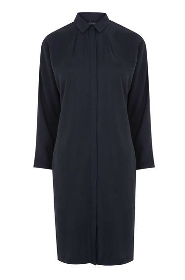 Batwing Shirt Dress - style: shirt; neckline: shirt collar/peter pan/zip with opening; pattern: plain; predominant colour: navy; occasions: evening; length: on the knee; fit: body skimming; fibres: viscose/rayon - 100%; back detail: longer hem at back than at front; sleeve length: long sleeve; sleeve style: standard; pattern type: fabric; texture group: other - light to midweight; season: s/s 2016; wardrobe: event