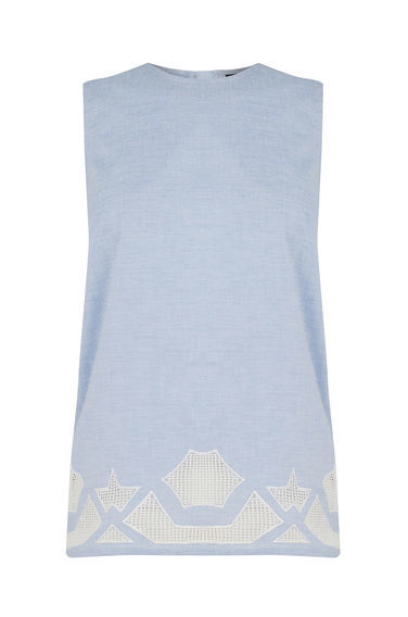 Chambray Cutwork Shell Top - sleeve style: sleeveless; style: vest top; secondary colour: white; predominant colour: pale blue; occasions: casual; length: standard; fibres: cotton - 100%; fit: body skimming; neckline: crew; sleeve length: sleeveless; pattern type: fabric; pattern size: light/subtle; pattern: patterned/print; texture group: jersey - stretchy/drapey; multicoloured: multicoloured; season: s/s 2016; wardrobe: highlight