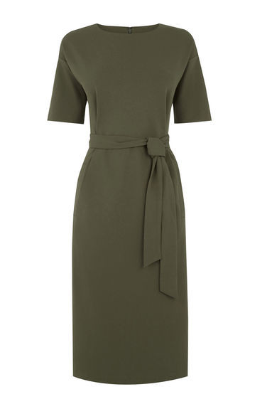 Drop Sleeve Pocket Dress - style: shift; length: below the knee; pattern: plain; waist detail: belted waist/tie at waist/drawstring; predominant colour: khaki; fit: body skimming; fibres: polyester/polyamide - 100%; neckline: crew; sleeve length: short sleeve; sleeve style: standard; pattern type: fabric; texture group: other - light to midweight; occasions: creative work; season: s/s 2016; wardrobe: investment