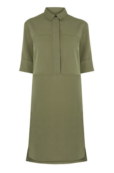 Casual Shirt Dress - style: shift; neckline: shirt collar/peter pan/zip with opening; pattern: plain; predominant colour: khaki; occasions: casual, creative work; length: on the knee; fit: body skimming; sleeve length: half sleeve; sleeve style: standard; pattern type: fabric; texture group: other - light to midweight; fibres: viscose/rayon - mix; season: s/s 2016; wardrobe: basic