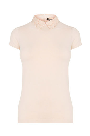 Lace Collar Knitted Tee - pattern: plain; predominant colour: blush; occasions: casual; length: standard; style: top; fibres: nylon - mix; fit: body skimming; neckline: no opening/shirt collar/peter pan; sleeve length: short sleeve; sleeve style: standard; pattern type: fabric; texture group: jersey - stretchy/drapey; embellishment: lace; season: s/s 2016; wardrobe: highlight