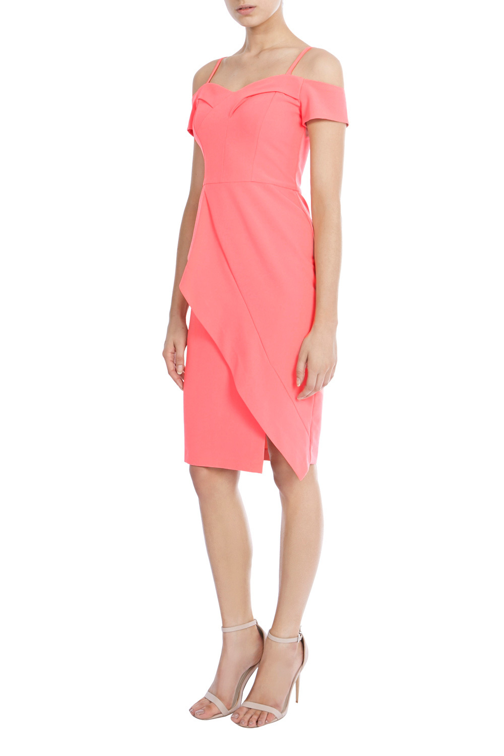 Briody Bardot Shift Dress D - style: shift; neckline: off the shoulder; fit: tailored/fitted; pattern: plain; predominant colour: coral; occasions: evening, occasion; length: on the knee; fibres: polyester/polyamide - 100%; hip detail: slits at hip; sleeve length: short sleeve; sleeve style: standard; texture group: crepes; pattern type: fabric; season: s/s 2016; wardrobe: event
