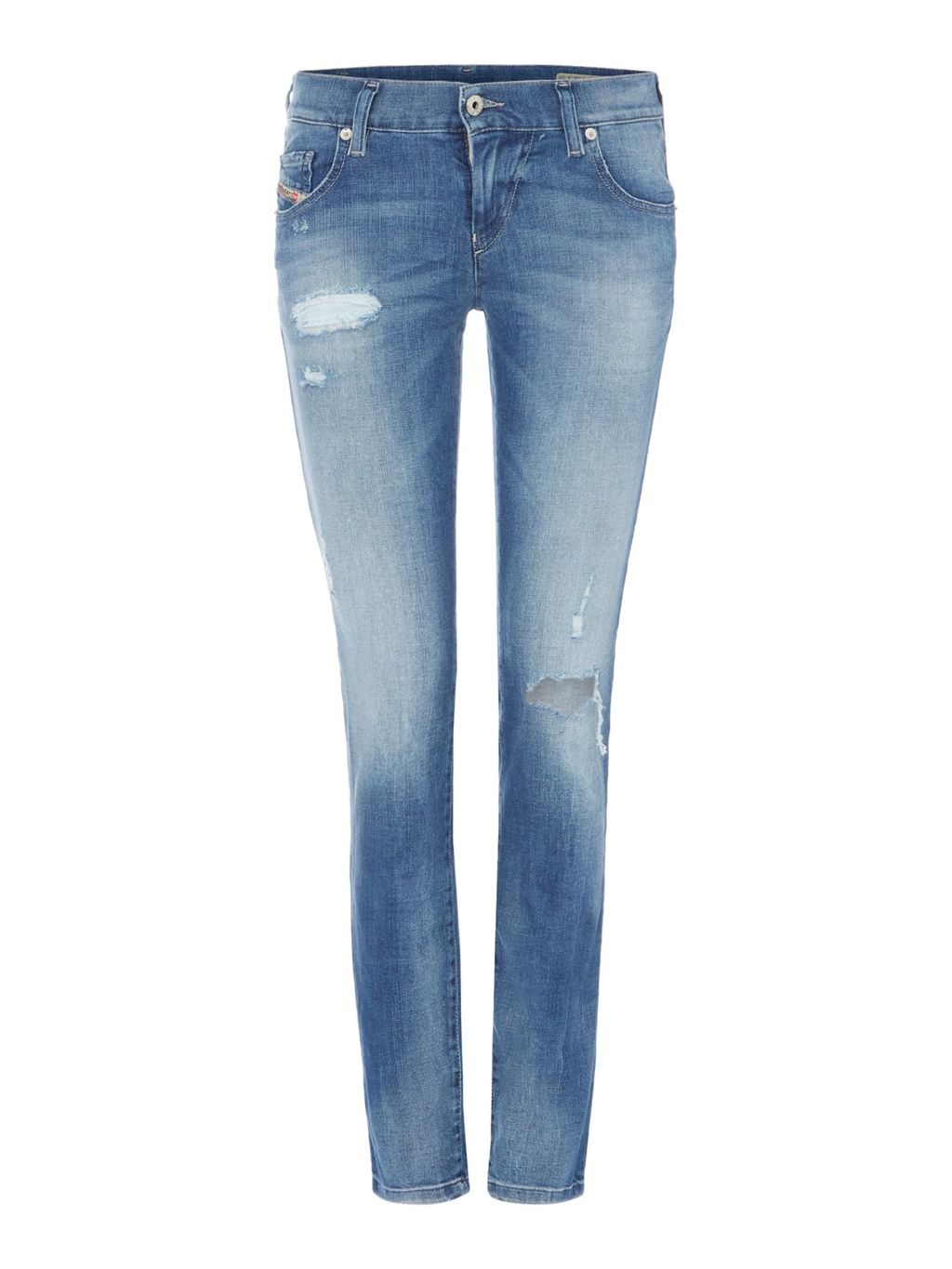 Grupee. 0854 D Slim Jeans Leg 30, Blue - length: standard; pattern: plain; pocket detail: traditional 5 pocket; style: slim leg; waist: mid/regular rise; predominant colour: denim; occasions: casual; fibres: cotton - stretch; jeans detail: shading down centre of thigh, rips; texture group: denim; pattern type: fabric; season: s/s 2016