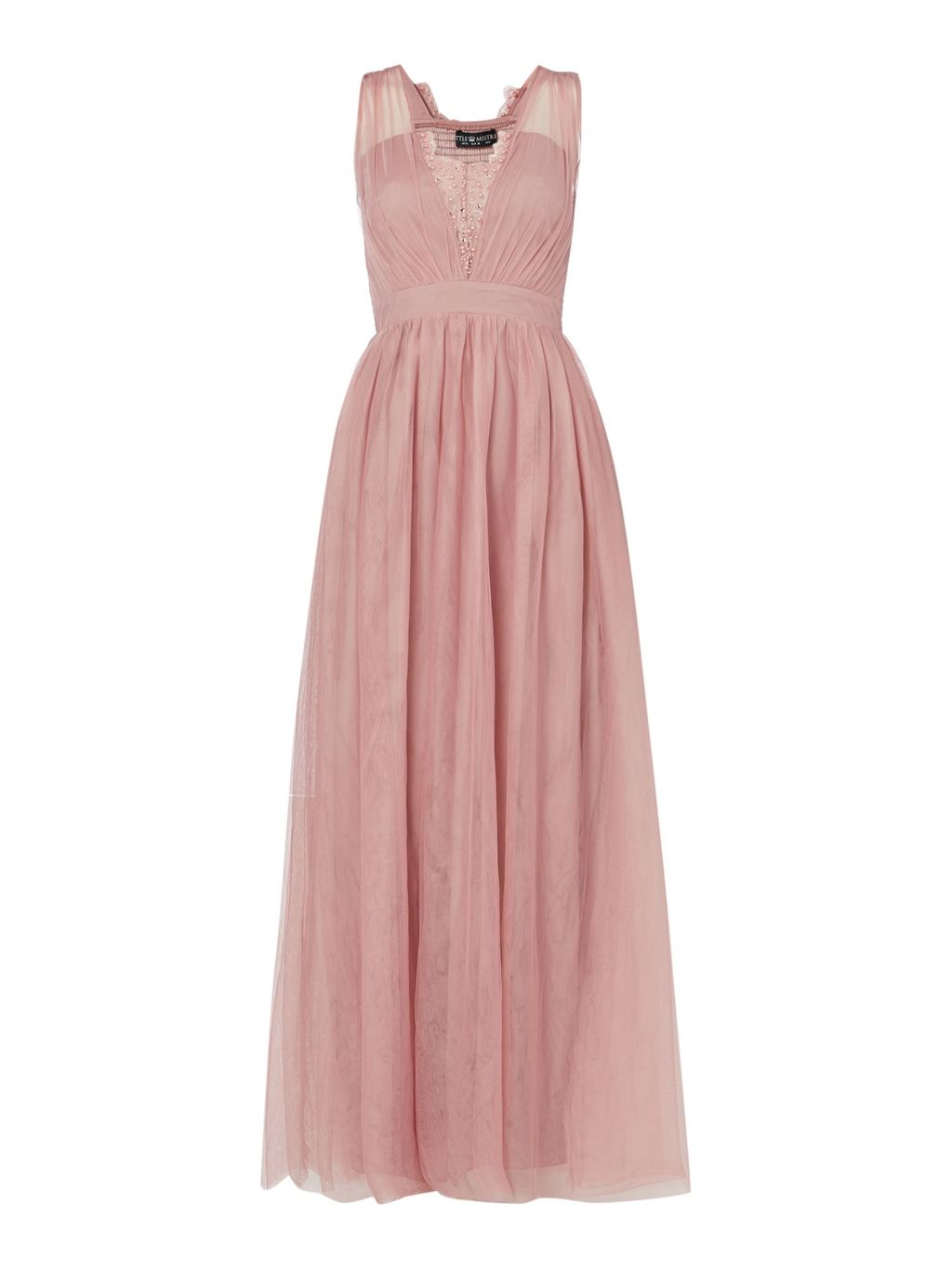 Sleeveless Chiffon Maxi Dress, Pink - sleeve style: wide vest straps; neckline: v-neck; pattern: plain; style: maxi dress; length: ankle length; bust detail: added detail/embellishment at bust; predominant colour: pink; fit: soft a-line; fibres: polyester/polyamide - 100%; occasions: occasion; sleeve length: sleeveless; texture group: sheer fabrics/chiffon/organza etc.; pattern type: fabric; pattern size: standard; embellishment: beading; season: s/s 2016
