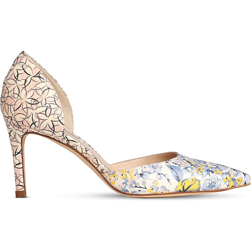 Flossie Floral Print Leather Courts, Women's, Eur 41 / 8 Uk Women, Pri Multi - predominant colour: ivory/cream; secondary colour: blush; occasions: occasion, creative work; material: leather; heel height: high; heel: stiletto; toe: pointed toe; style: courts; finish: plain; pattern: florals; multicoloured: multicoloured; season: s/s 2016; wardrobe: highlight