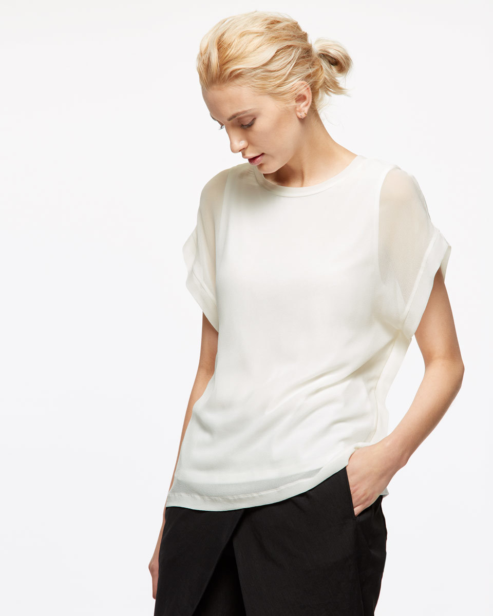 Silk Front Overlay T Shirt - neckline: round neck; pattern: plain; style: t-shirt; predominant colour: white; occasions: work, occasion; length: standard; fibres: silk - 100%; fit: body skimming; sleeve length: short sleeve; sleeve style: standard; pattern type: fabric; texture group: jersey - stretchy/drapey; season: s/s 2016; wardrobe: basic