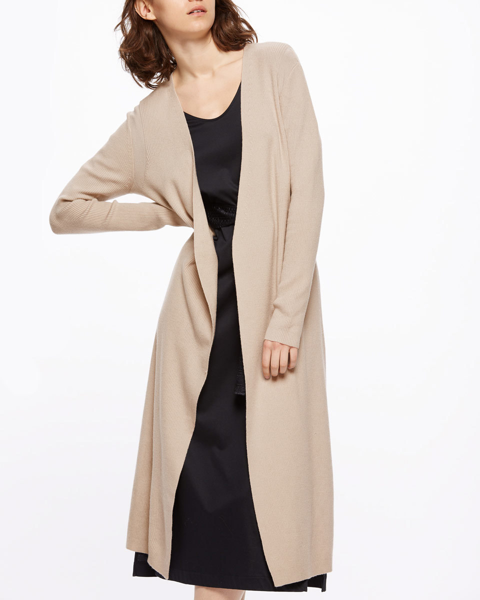 Long Rib Cardigan - pattern: plain; neckline: collarless open; length: on the knee; predominant colour: stone; occasions: casual, work, creative work; style: standard; fibres: wool - mix; fit: loose; sleeve length: long sleeve; sleeve style: standard; texture group: knits/crochet; pattern type: knitted - fine stitch; season: s/s 2016; wardrobe: basic