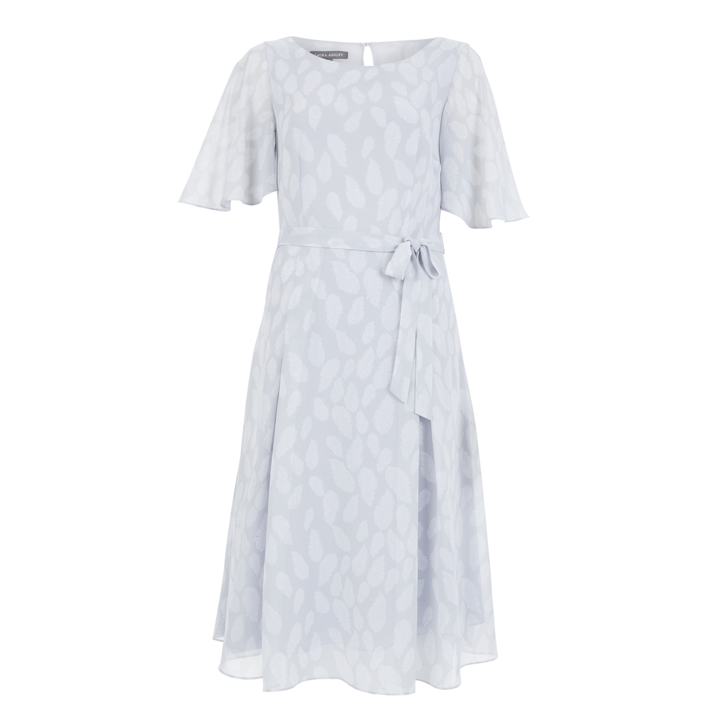 Angel Sleeve Falling Feathers Print Dress - neckline: round neck; sleeve style: angel/waterfall; waist detail: belted waist/tie at waist/drawstring; predominant colour: pale blue; length: on the knee; fit: fitted at waist & bust; style: fit & flare; fibres: polyester/polyamide - 100%; occasions: occasion; hip detail: subtle/flattering hip detail; back detail: keyhole/peephole detail at back; sleeve length: half sleeve; texture group: sheer fabrics/chiffon/organza etc.; pattern type: fabric; pattern size: light/subtle; pattern: patterned/print; season: s/s 2016; wardrobe: event