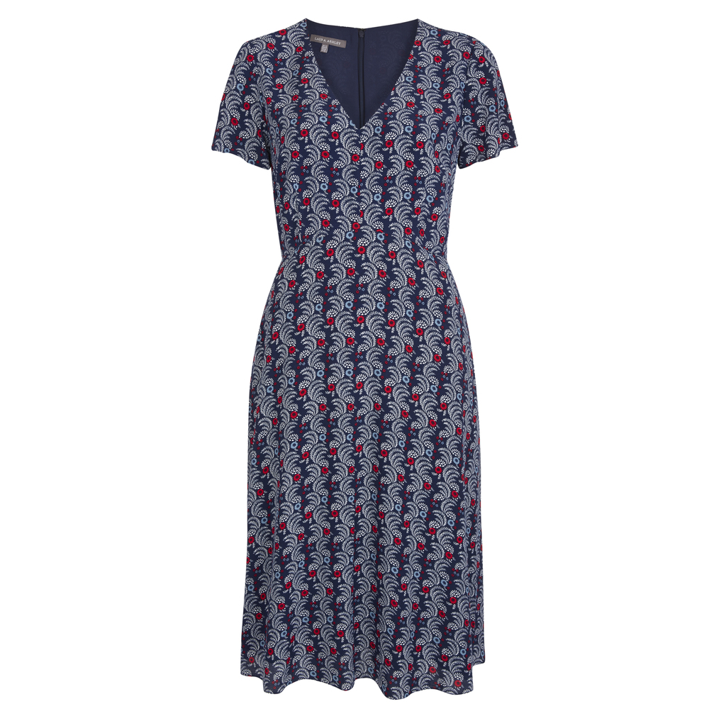 Floral Print V Neck Tea Dress - style: tea dress; neckline: v-neck; waist detail: fitted waist; secondary colour: white; predominant colour: navy; occasions: casual; length: on the knee; fit: fitted at waist & bust; fibres: cotton - 100%; hip detail: soft pleats at hip/draping at hip/flared at hip; sleeve length: short sleeve; sleeve style: standard; texture group: cotton feel fabrics; pattern type: fabric; pattern size: standard; pattern: florals; season: s/s 2016; wardrobe: highlight