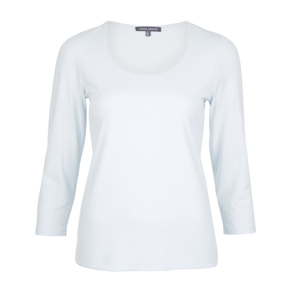 Double Front Scoop Neck Top - neckline: round neck; pattern: plain; predominant colour: white; occasions: casual; length: standard; style: top; fibres: cotton - mix; fit: body skimming; sleeve length: 3/4 length; sleeve style: standard; pattern type: fabric; texture group: jersey - stretchy/drapey; season: s/s 2016; wardrobe: basic