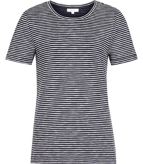 Maria Striped Jersey T Shirt - sleeve style: standard vest straps/shoulder straps; pattern: horizontal stripes; style: t-shirt; secondary colour: white; predominant colour: black; occasions: casual; length: standard; fibres: polyester/polyamide - stretch; fit: body skimming; neckline: crew; sleeve length: short sleeve; pattern type: fabric; texture group: jersey - stretchy/drapey; multicoloured: multicoloured; season: s/s 2016; wardrobe: basic