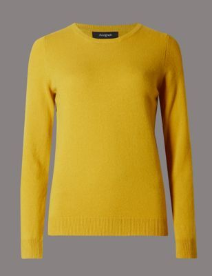 Pure Cashmere Jumper - pattern: plain; style: standard; predominant colour: yellow; occasions: casual, creative work; length: standard; fit: slim fit; neckline: crew; fibres: cashmere - 100%; sleeve length: long sleeve; sleeve style: standard; texture group: knits/crochet; pattern type: knitted - fine stitch; season: s/s 2015