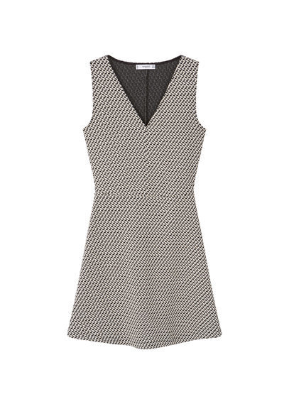 Cotton Blend Dress - length: mini; neckline: low v-neck; sleeve style: sleeveless; secondary colour: ivory/cream; predominant colour: black; fit: fitted at waist & bust; style: fit & flare; fibres: cotton - mix; sleeve length: sleeveless; trends: monochrome; pattern type: fabric; pattern size: standard; pattern: patterned/print; texture group: brocade/jacquard; occasions: creative work; season: s/s 2016; wardrobe: highlight