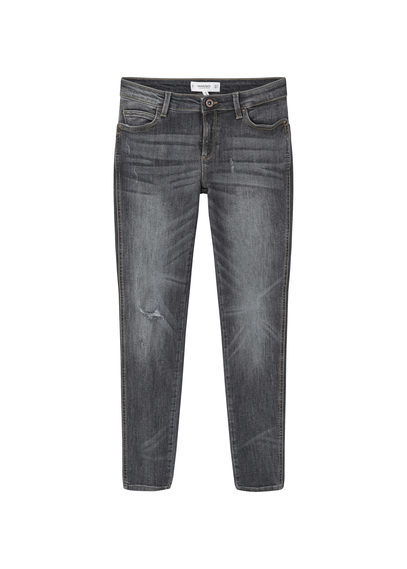 Skinny Push Up Uptown Jeans - style: skinny leg; length: standard; pattern: plain; pocket detail: traditional 5 pocket; waist: mid/regular rise; predominant colour: mid grey; occasions: casual, creative work; fibres: cotton - stretch; jeans detail: whiskering, shading down centre of thigh; texture group: denim; pattern type: fabric; season: s/s 2016