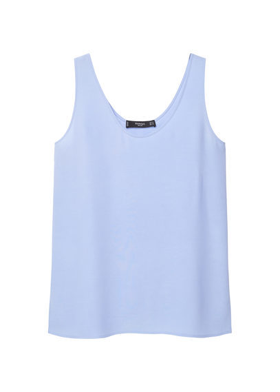 Flowy Strap Top - sleeve style: standard vest straps/shoulder straps; pattern: plain; style: vest top; back detail: back revealing; predominant colour: pale blue; occasions: casual; length: standard; neckline: scoop; fibres: viscose/rayon - 100%; fit: loose; sleeve length: sleeveless; pattern type: fabric; texture group: woven light midweight; season: s/s 2016; wardrobe: highlight