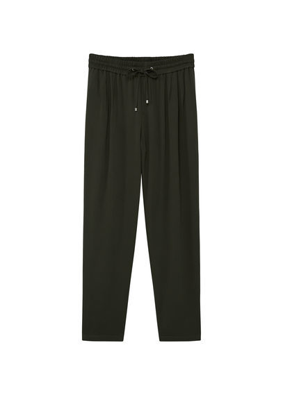 Flowy Baggy Trousers - length: standard; pattern: plain; style: harem/slouch; waist detail: belted waist/tie at waist/drawstring; waist: mid/regular rise; predominant colour: black; occasions: casual, creative work; fibres: polyester/polyamide - stretch; fit: baggy; pattern type: fabric; texture group: jersey - stretchy/drapey; season: s/s 2016; wardrobe: highlight