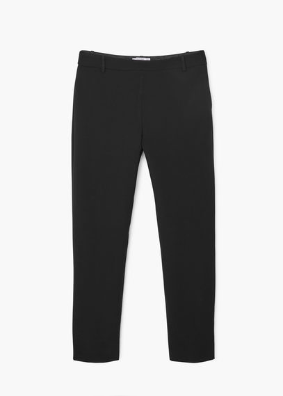 Slit Hem Trousers - pattern: plain; waist: mid/regular rise; predominant colour: black; occasions: work, creative work; length: ankle length; fibres: cotton - 100%; waist detail: feature waist detail; texture group: cotton feel fabrics; fit: slim leg; pattern type: fabric; style: standard; season: s/s 2016; wardrobe: basic