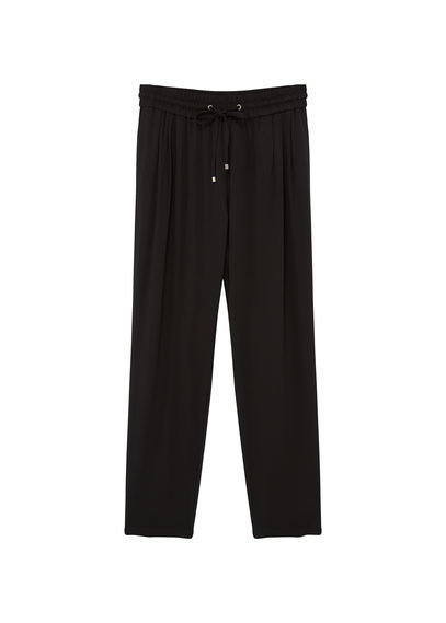 Flowy Baggy Trousers - length: standard; pattern: plain; style: harem/slouch; waist detail: belted waist/tie at waist/drawstring; waist: mid/regular rise; predominant colour: black; occasions: casual; fibres: polyester/polyamide - 100%; texture group: crepes; fit: baggy; pattern type: fabric; season: s/s 2016; wardrobe: highlight