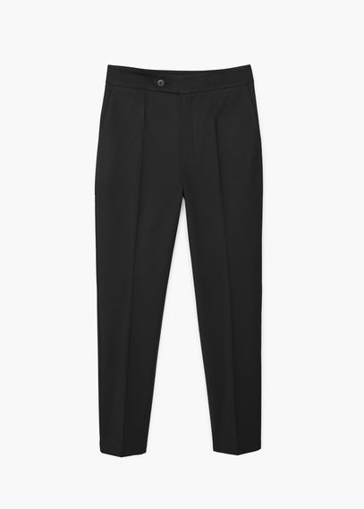 Slim Fit Trousers - pattern: plain; style: peg leg; waist: mid/regular rise; predominant colour: black; occasions: work, creative work; length: ankle length; fibres: cotton - stretch; texture group: cotton feel fabrics; fit: tapered; pattern type: fabric; season: s/s 2016; wardrobe: basic