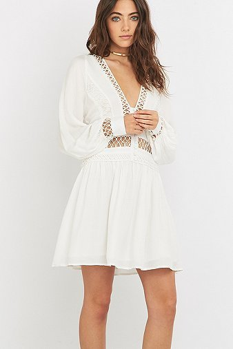 I Think I Love You White Mini Dress, Ivory - length: mid thigh; neckline: low v-neck; pattern: plain; predominant colour: ivory/cream; occasions: casual; fit: fitted at waist & bust; style: fit & flare; fibres: viscose/rayon - 100%; sleeve length: long sleeve; sleeve style: standard; pattern type: fabric; texture group: woven light midweight; season: s/s 2016; wardrobe: basic