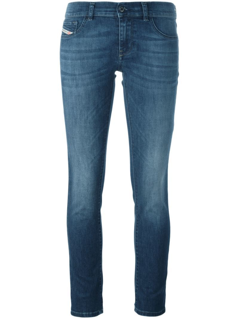 'livier' Jeans, Women's, Blue - style: skinny leg; length: standard; pattern: plain; pocket detail: traditional 5 pocket; waist: mid/regular rise; predominant colour: navy; occasions: casual; fibres: cotton - stretch; jeans detail: whiskering, shading down centre of thigh; texture group: denim; pattern type: fabric; season: s/s 2016