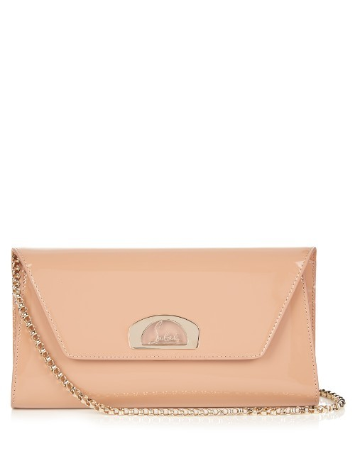 Vero Dotat Patent Leather Clutch - predominant colour: nude; occasions: evening, occasion; type of pattern: standard; style: clutch; length: hand carry; size: standard; material: leather; pattern: plain; finish: patent; embellishment: chain/metal; season: s/s 2016; wardrobe: event