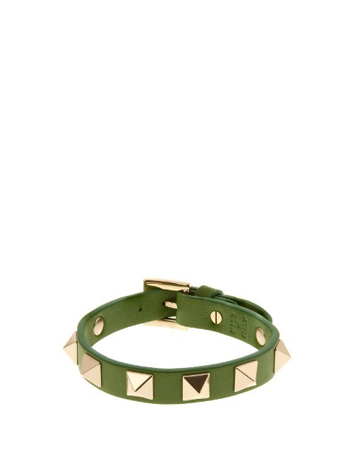 Rockstud Leather Bracelet - predominant colour: khaki; secondary colour: gold; occasions: casual, creative work; style: bangle/standard; size: standard; material: leather; finish: plain; embellishment: studs; season: s/s 2016; wardrobe: highlight