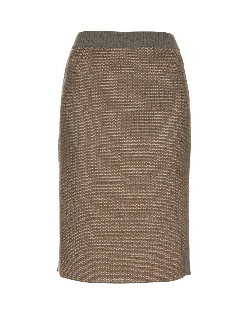 Simpaty Skirt - style: straight; waist: mid/regular rise; predominant colour: taupe; secondary colour: taupe; length: on the knee; fit: straight cut; pattern type: fabric; pattern: patterned/print; texture group: woven light midweight; fibres: viscose/rayon - mix; occasions: creative work; season: s/s 2016; wardrobe: highlight