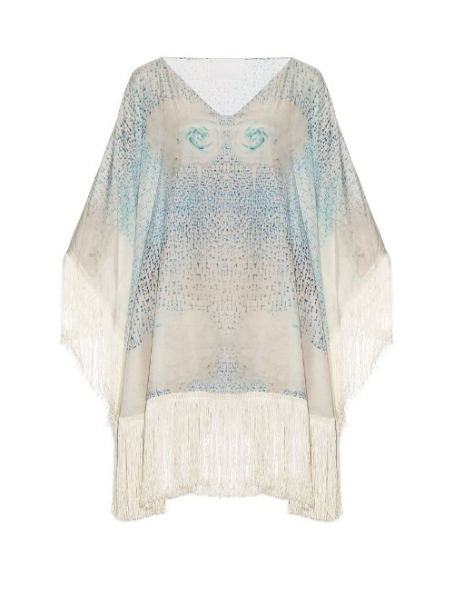 Little Lies Cotton And Silk Blend Kaftan - neckline: v-neck; sleeve style: kimono; length: below the bottom; style: kaftan; predominant colour: ivory/cream; secondary colour: pale blue; fibres: cotton - mix; fit: loose; sleeve length: 3/4 length; texture group: sheer fabrics/chiffon/organza etc.; occasions: holiday; pattern type: fabric; pattern: patterned/print; embellishment: fringing; multicoloured: multicoloured; season: s/s 2016; wardrobe: holiday; embellishment location: hem