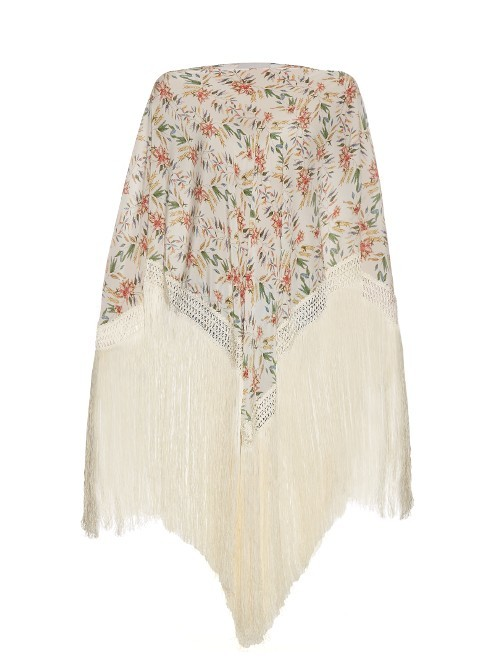 Wind Winged Dove Silk Kaftan - neckline: slash/boat neckline; sleeve style: dolman/batwing; length: below the bottom; style: kaftan; predominant colour: ivory/cream; secondary colour: coral; occasions: evening; fibres: silk - 100%; fit: loose; sleeve length: long sleeve; pattern type: fabric; pattern size: light/subtle; pattern: florals; texture group: other - light to midweight; embellishment: fringing; multicoloured: multicoloured; season: s/s 2016